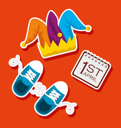 fanny joker hat and sneaker to fools day vector image