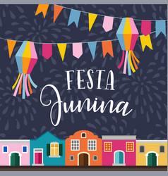 festa junina brazilian june party latin american vector image