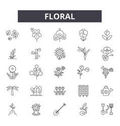 floral line icons signs set outline vector image