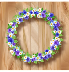 Flowers wreath greeting card on wooden background vector image
