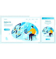 follow on social networks set vector image