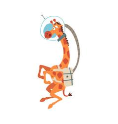 Funny astronaut giraffe in space helmet crazy vector
