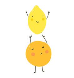 Funny cartoon fruit lemon and orange vector