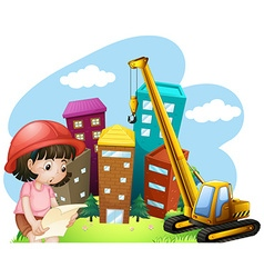 Girl and construction site vector