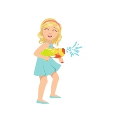 Girl Shooting A Water Pistol vector