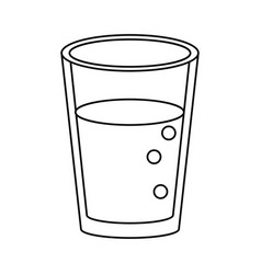glass cup juice nature thin line vector image