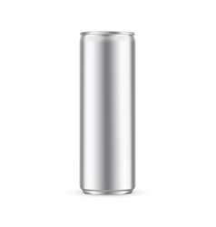glossy metallic can mockup isolated vector image