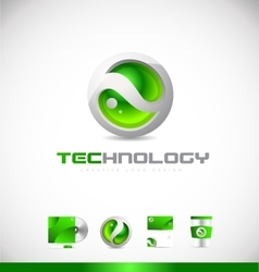 Green sphere 3d technology logo icon design vector