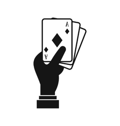 Hand holding playing cards icon simple style vector