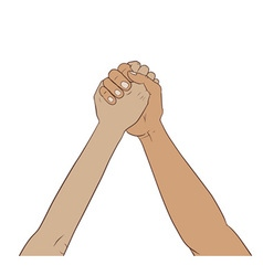 Hands together in the air vector