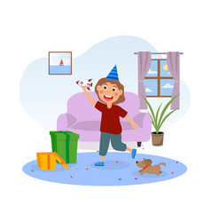 happy cute little kid opens gifts for his birthday vector image