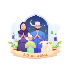 Happy eid al adha mubarak greeting with a muslim vector