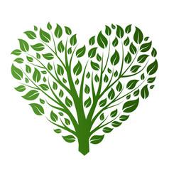 Heart shape tree on white background vector