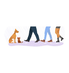 Homeless cat and dog between men and women feet vector