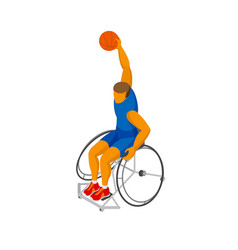 Isometirc physically disabled basketball player vector