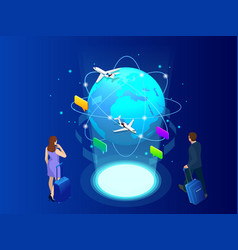Isometric web banner businesswomen hold luggage vector