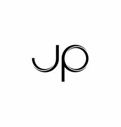 Jp logo monogram with slice rounded modern design vector