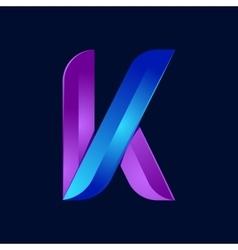 K letter volume blue and purple color logo design vector image