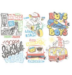 Kids t-shirt designs set cartoon vector