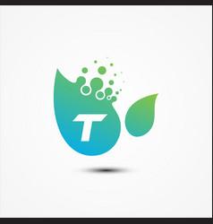 leaf design with t letter symbol design minimalist vector image