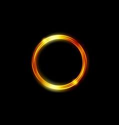 Magic gold circle frame fire hole glowing border vector