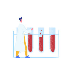 male scientist in lab coat near huge glass test vector image