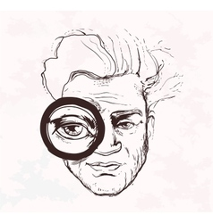 Man looks throug magnifying glass Hand drawn vector