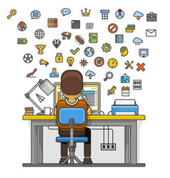 man sitting at desktop and working on computer vector image