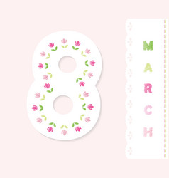 March 8 greeting card design with floral vector