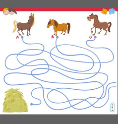 maze game with horse characters vector image vector image