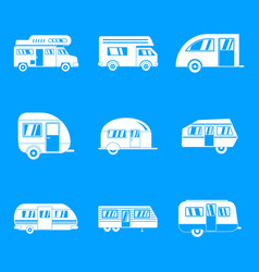motorhome car trailer icons set simple style vector image