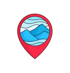 Mountain map pin locator logo badge high cloudy vector