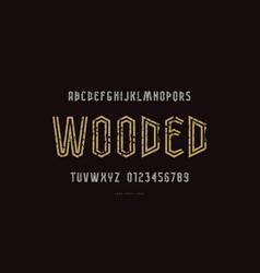 Narrow striped sans serif font vector