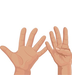 Nine from fingers vector image
