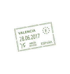 official arrival stamp to valencia airport isolate vector image