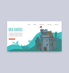 old castle with ruined tower cartoon webpage vector image
