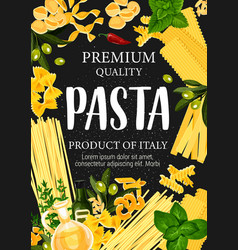 Pasta and greenery with olive oil pastry poster vector
