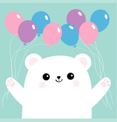Polar white small little bear cub holding balloon vector
