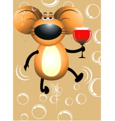 rat and wine vector image