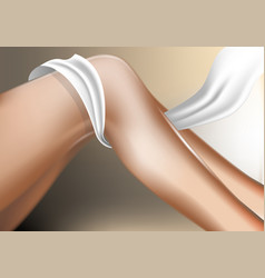 realistic woman foot with white ribbon vector image