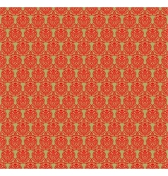 Red and green damask pattern vector image