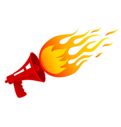 Red vintage megaphone and flame vector