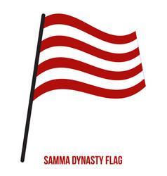 Samma dynasty 1351-1524 flag waving on white vector