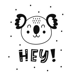 Scandinavian style childish poster cute animal vector