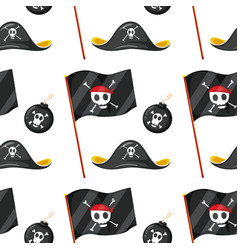seamless pattern tile cartoon with pirate theme vector image