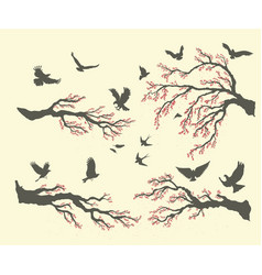 Set branches and birds vector