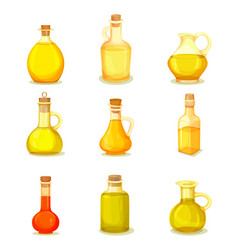 Set isolated jars or bottle with oil product vector
