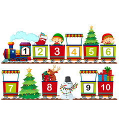 Set of christmas number on train vector