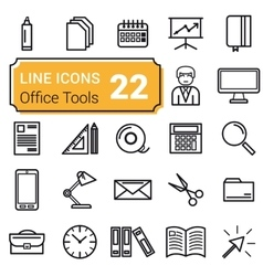 Set of twenty two icons linear vector