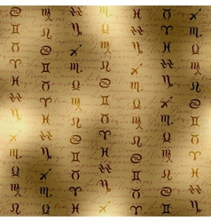Signs of zodiac on manuscript background vector